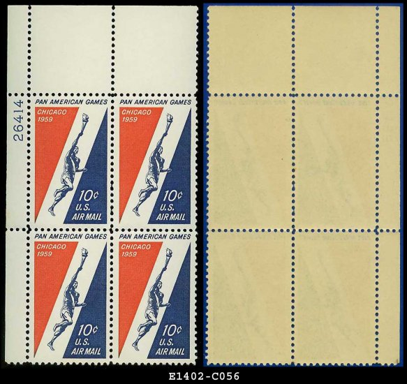 1959 USA Mint No Hinge Sc# C56 Plt Number Blk of Four � 10c Runner & Torch � Pan-Am Games -E1402