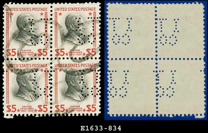 1938 USA NH Scott# 834 USED Block of Four � $5 Coolidge � 1938 Presidential Series