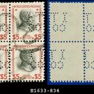 1938 USA NH Scott# 834 USED Block of Four – $5 Coolidge – 1938 Presidential Series