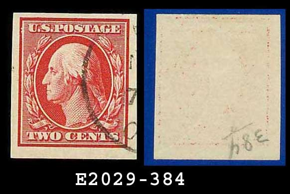 1910 USA USED Scott# 384 � 2c Washington � Imperforate Stamp