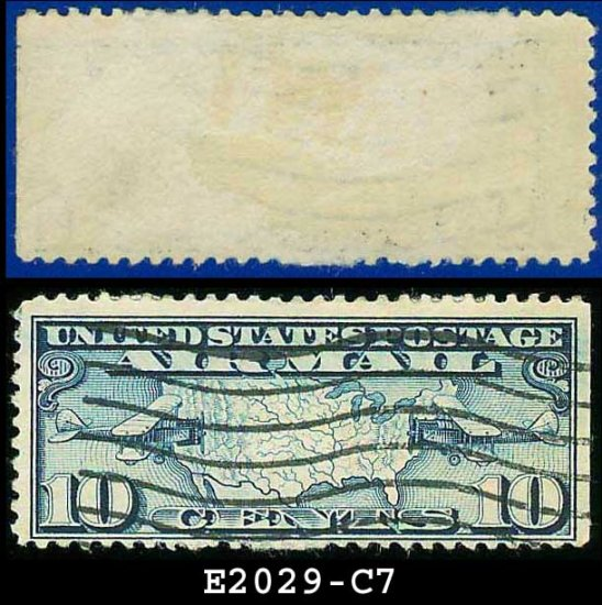 1926-27 USA USED Scott# C7 � 10c US Map and Mail Planes � Air Mail Stamp