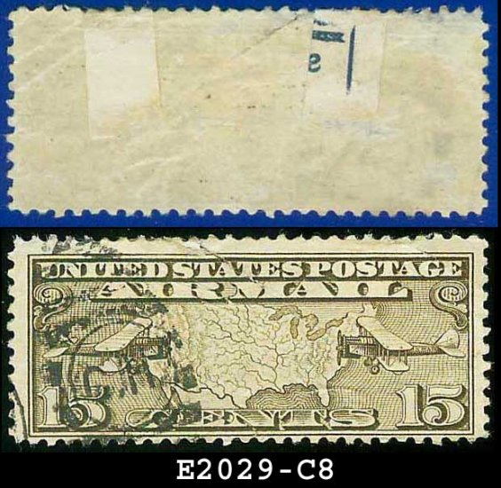 1926-27 USA USED Scott# C8 � 15c US Map and Mail Planes � Air Mail Stamp
