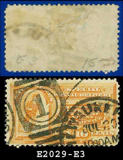 1893 USA USED Scott# E3 � 10c Messenger Running (Orange) � Special Delivery Stamps