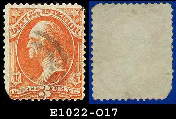1873 USA USED Scott# O17 � 3c Dept of the Interior  � Official Stamps