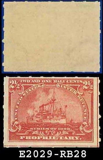 1898 USA UNUSED Scott# RB28 � 2 1/2c Battleship Proprietary  � Documentary Stamps