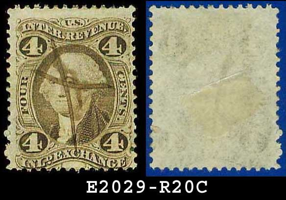 USA USED Scott# R20C � 4c Inland Exchange � Internal Revenue Stamps