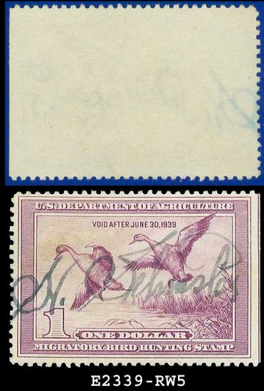 1938 USA USED Scott# RW5 � $1 Pintail Drake � Duck Stamps