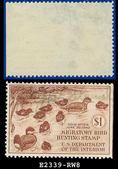 1941 USA USED Scott# RW8 � $1 Family of Ruddy Ducks � Duck Stamps