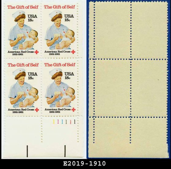 1981 USA MNH Sc# 1910 Plate# Block of Four � 18c American Red Cross - 1981 Commemoratives