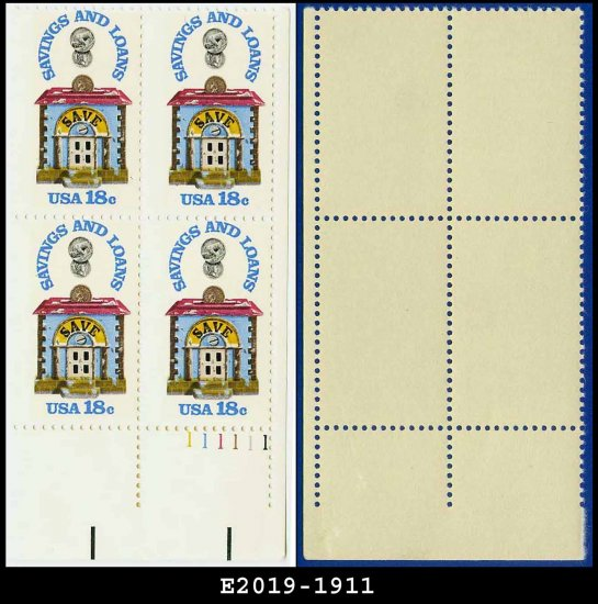 1981 USA MNH Sc# 1911 Plate# Block of Four � 18c Savings and Loan - 1981 Commemoratives