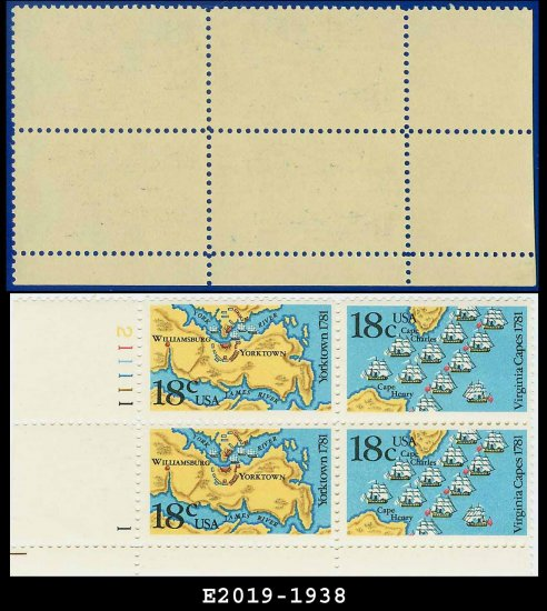 1981 USA MNH Sc# 1937-38 Plate# Block of Four � 18c American Bicentennial - 1981 Commemoratives