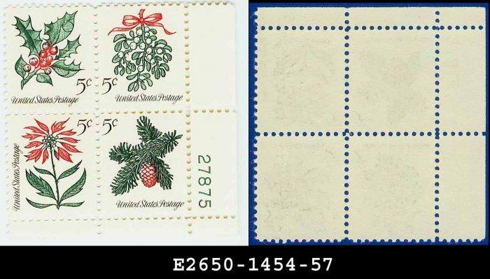 1964 USA MNH Sc# 1254-57 Plate# Block of Four � 5c Christmas Se-tenant - 1964 Commemoratives