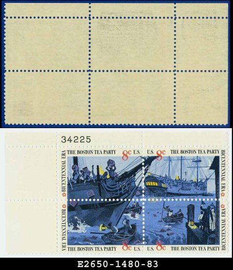 1973 USA MNH Sc# 1480-83 Plate# Block of Four � 8c Boston Tea Party - 1973 Commemoratives