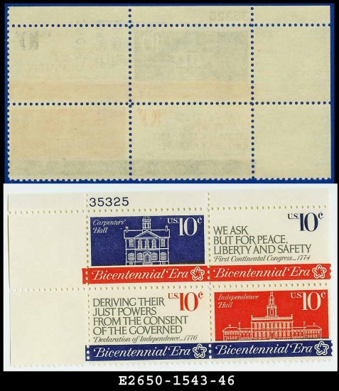 1974 USA MNH Sc# 1543-46 Plate# Blk of 4 � 8c First Continental Congress - 1974 Commemoratives
