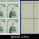 1975-81 USA MNH Sc# 1591 Plate# Block of Four – 9c Dome of Capitol - Americana Series