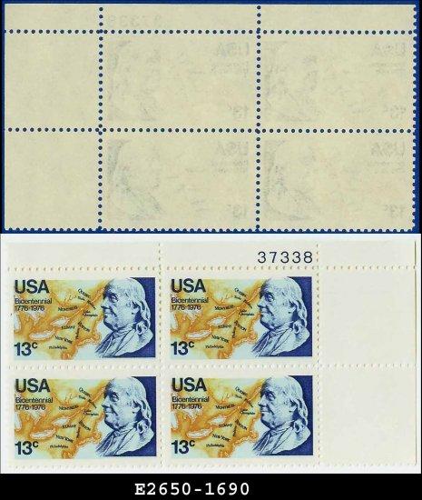 1976 USA MNH Sc# 1690 Plate# Block of Four � 13c Benjamin Franklin - 1976 Commemoratives