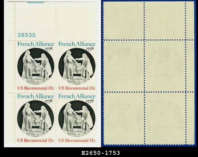 1978 USA MNH Sc# 1753 Plate# Block of Four � 13c French Alliance - 1978 Commemoratives