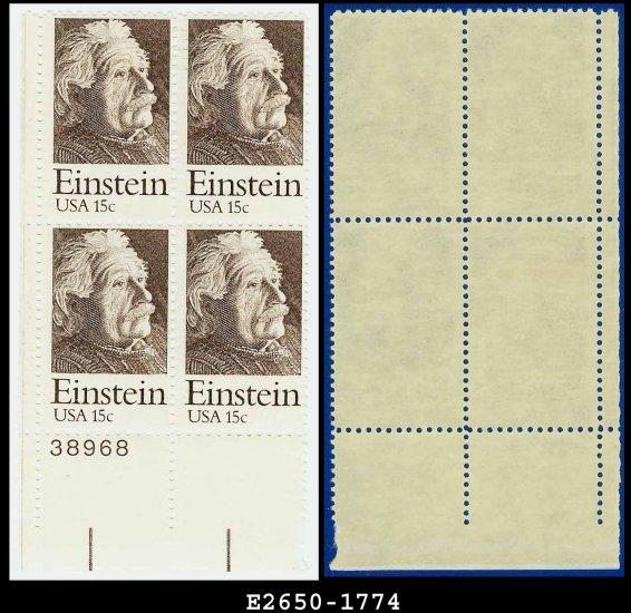 1979 USA MNH Sc# 1774 Plate# Block of Four � 15c Albert Einstein - 1979 Commemoratives