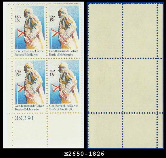 1980 USA MNH Sc# 1826 Pl# Blk of 4 � 15c General Bernardo de Galvez - 1980 Commemoratives