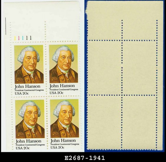 1981 USA MNH Sc# 1941 Plate# Block of Four � 20c John Hanson - 1981 Commemoratives