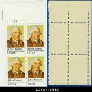 1981 USA MNH Sc# 1941 Plate# Block of Four – 20c John Hanson - 1981 Commemoratives