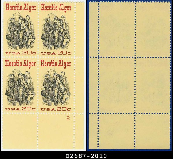 1982 USA MNH Sc# 2010 Plate# Block of Four � 20c Horatio Alger - 1982 Commemoratives