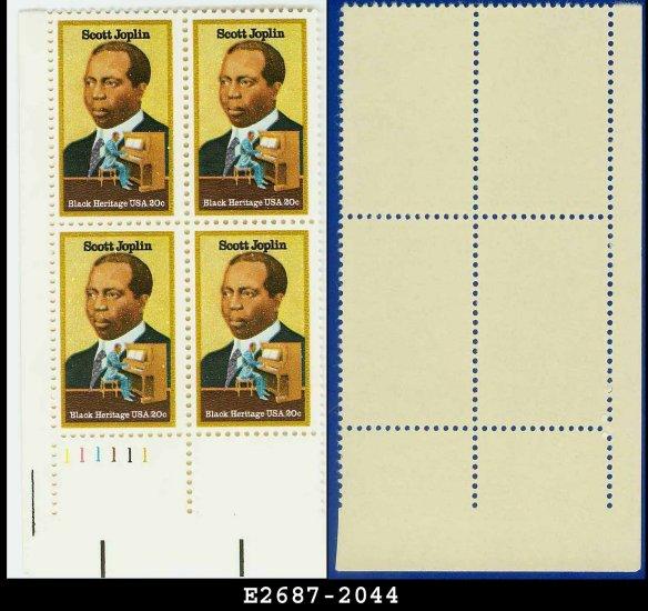 1983 USA MNH Sc# 2044 Plate# Block of Four � 20c Scott Joplin - 1983 Black Heritage
