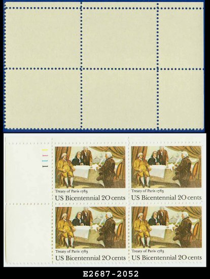 1983 USA MNH Sc# 2052 Pl# Blk of 4 � 20c Signing of Treaty of Paris - 1983 Bicentennial Issue