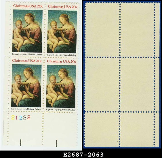 1983 USA MNH Sc# 2063 Pl# Blk of 4 � 20c Madonna by Raphael - 1983 Christmas Issue
