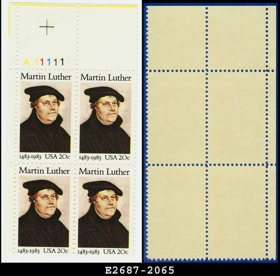 1983 USA MNH Sc# 2065 Plate# Block of Four � 20c Martin Luther - 1983 Commemoratives