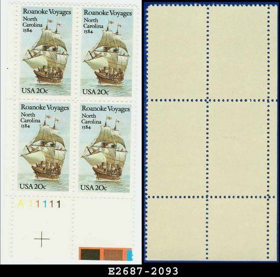 1984 USA MNH Sc# 2093 Plate# Block of Four � 20c Roanoke Voyages � 1984 Commemoratives