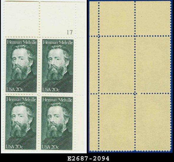 1984 USA MNH Sc# 2094 Plate# Block of Four � 20c Herman Melville � 1984 Commemoratives