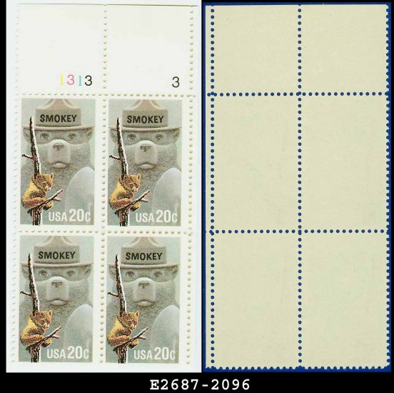 1984 USA MNH Sc# 2096 Plate# Block of Four � 20c Smokey Bear � 1984 Fire Prevention Issue