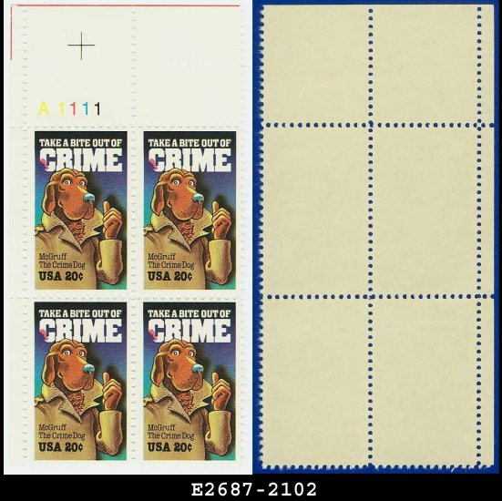 1984 USA MNH Sc# 2102 Plate# Block of Four � 20c McGruff, The Crime Dog � 1984 Commemoratives
