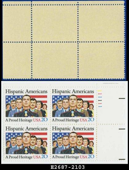 1984 USA MNH Sc# 2103 Plate# Block of Four � 20c Hispanic Americans � 1984 Commemoratives