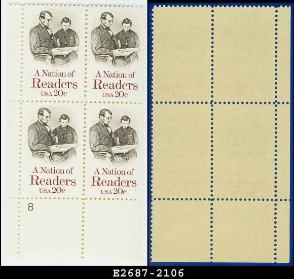1984 USA MNH Sc# 2106 Plate# Block of Four � 20c A Nation of Readers � 1984 Commemoratives