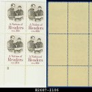1984 USA MNH Sc# 2106 Plate# Block of Four – 20c A Nation of Readers – 1984 Commemoratives