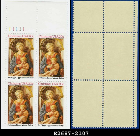1984 USA MNH Sc# 2107 Pl# Blk of 4 � 20c Madonna and Child - 1984 Christmas Issue