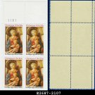 1984 USA MNH Sc# 2107 Pl# Blk of 4 – 20c Madonna and Child - 1984 Christmas Issue
