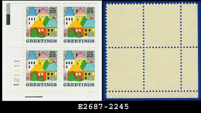 1986 USA MNH Sc# 2245 Plate# Block of Four � 22c Village Scene - 1986 Christmas Issue