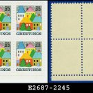 1986 USA MNH Sc# 2245 Plate# Block of Four – 22c Village Scene - 1986 Christmas Issue