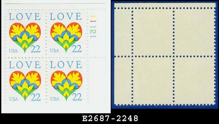 1987 USA MNH Sc# 2248 Plate# Block of Four � 22c Love Heart & Flowers � 1987 Commemoratives
