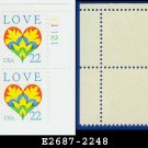 1987 USA MNH Sc# 2248 Plate# Block of Four – 22c Love Heart & Flowers – 1987 Commemoratives