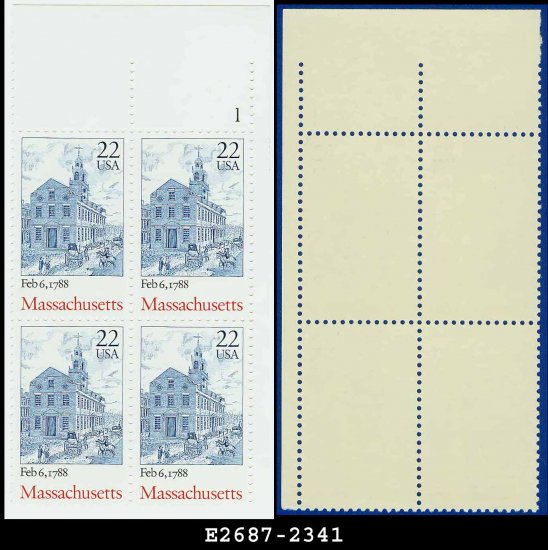 1987 USA MNH Sc# 2341 Plate# Blk of 4 � 22c Massachusetts � 1987-90 Bicentenary Statehood Series