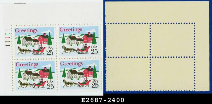 1988 USA MNH Sc# 2400 Plate# Block of Four � 25c Sleigh and Village Scene - 1988 Christmas Issue