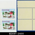 1988 USA MNH Sc# 2400 Plate# Block of Four – 25c Sleigh and Village Scene - 1988 Christmas Issue