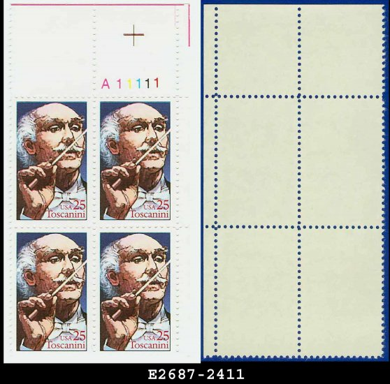 1989 USA MNH Sc# 2411 Plate# Block of Four � 25c Arturo Toscanini � 1989 Commemoratives