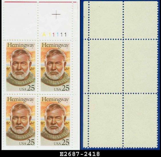 1989 USA MNH Sc# 2418 Plate# Block of Four � 25c Ernest Hemingway � 1989 Commemoratives