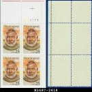 1989 USA MNH Sc# 2418 Plate# Block of Four – 25c Ernest Hemingway – 1989 Commemoratives
