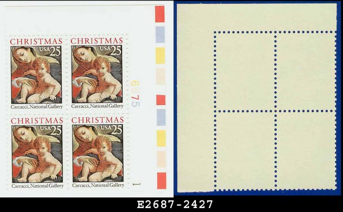 1989 USA MNH Sc# 2427 Plate# Block of Four � 25c Madonna and Child - 1989 Christmas Issue